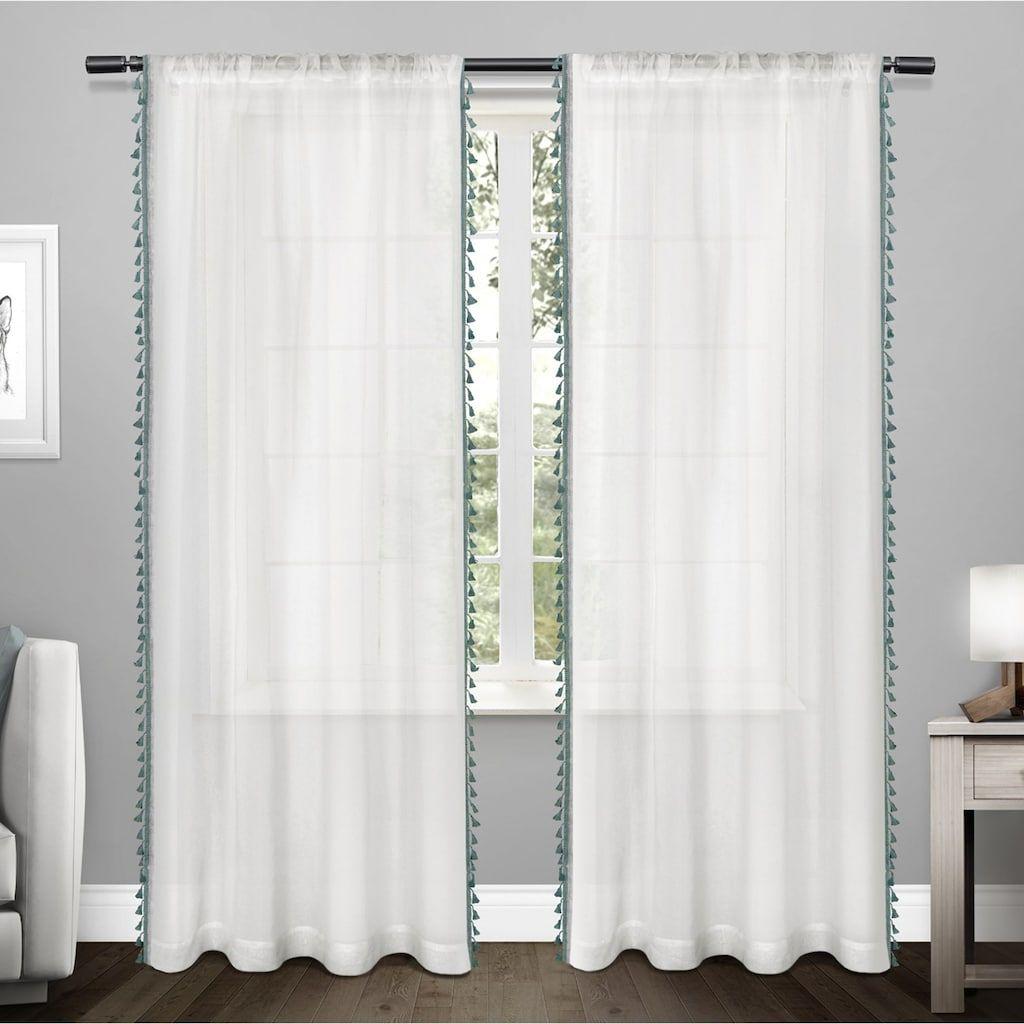 Exclusive Home 2 Pack Tassels Embellished Sheer Window Curtains