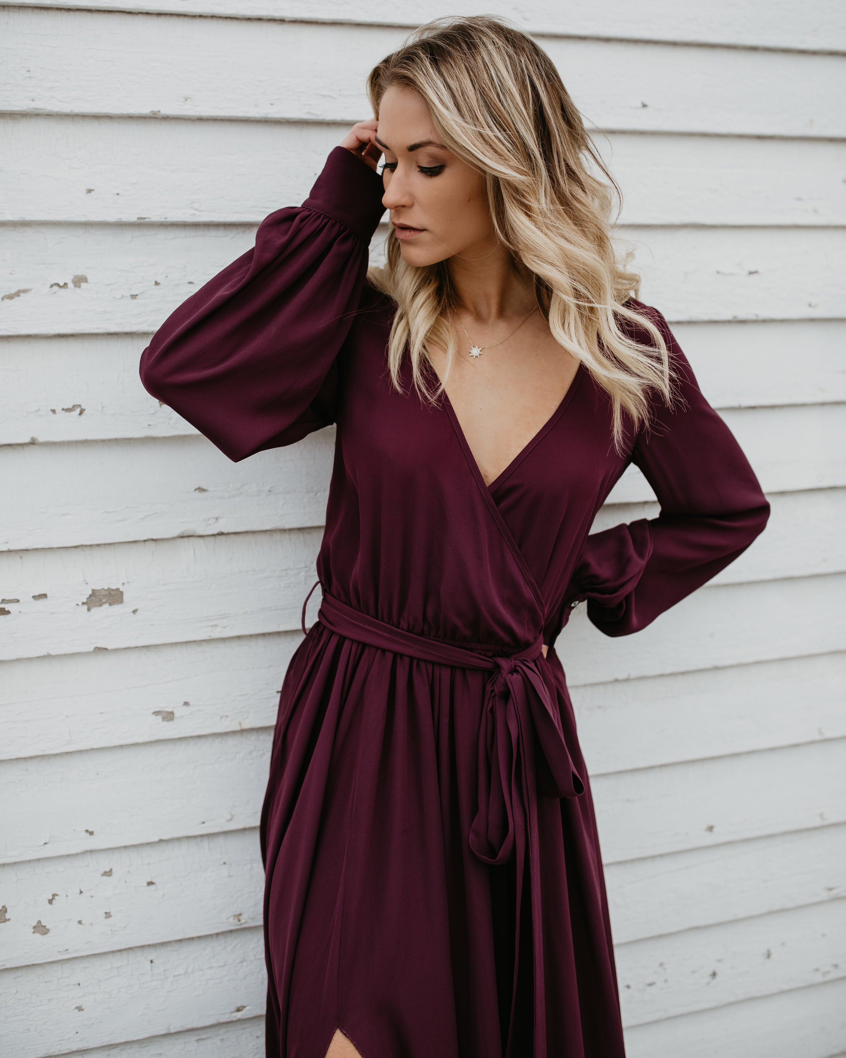 b896068a15 Long Sleeve Diana Maxi Dress - Wine