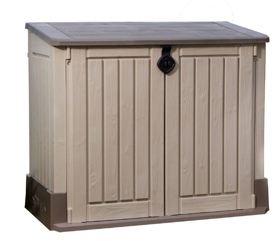 Outdoor Garden Storage Shed Patio Tool Box Garage Utility Lawn Pool Beige Brown…