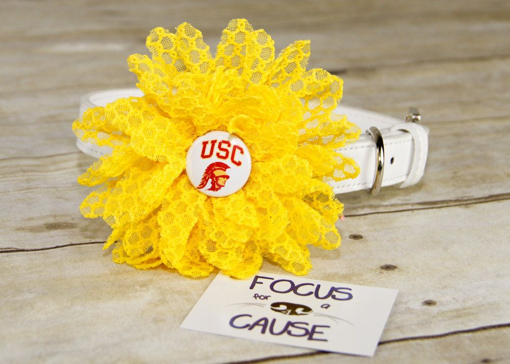 USC Trojans Dog Collar Flower, Attachment, (Collar not included), Collar Flower, Dog Accessory, Photograpy Prop by FocusforaCause on Etsy