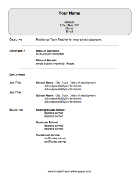 High Quality This Resume For Teachers Goes Beyond Listing Credential Information And  Includes Room For All Teaching Positions