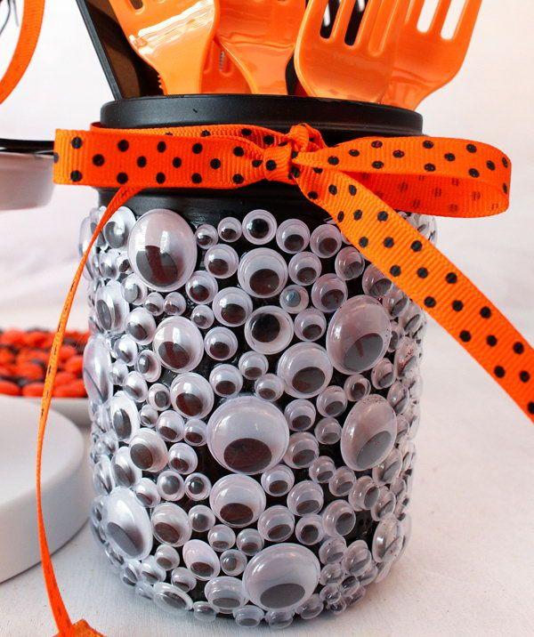 Spooky Eyes Mason Jar Halloween Party Decoration.