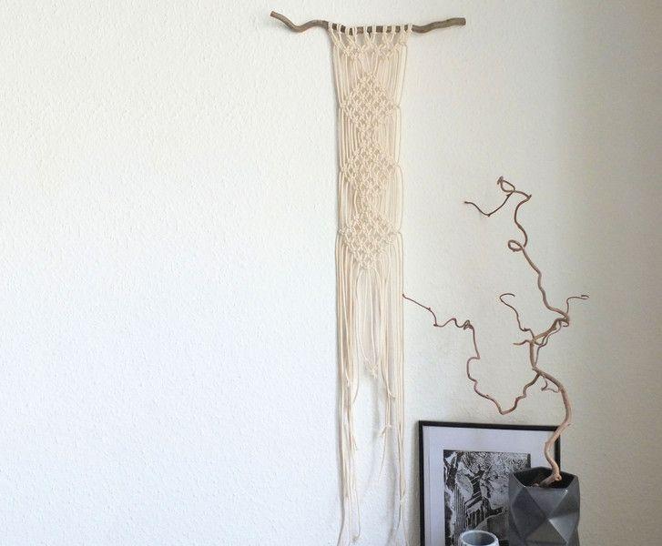 Great Wanddeko Makramee Wanddeko gekn pft Baumwolle natur ein Designerst ck von tijmoo bei DaWanda