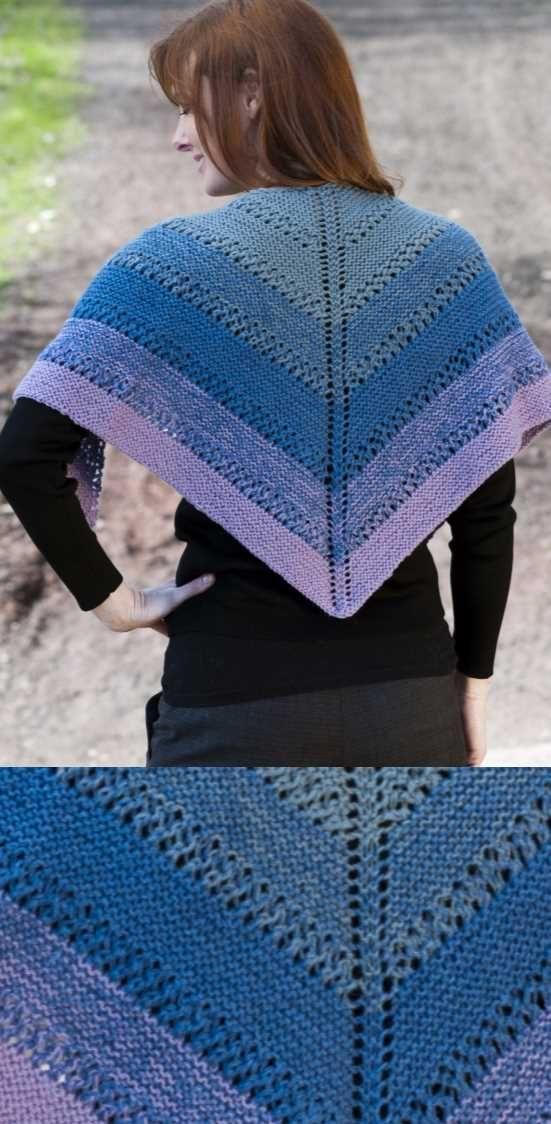 Fingering Eyelet Color Shift Shawl Free Knitting Pattern Knitting