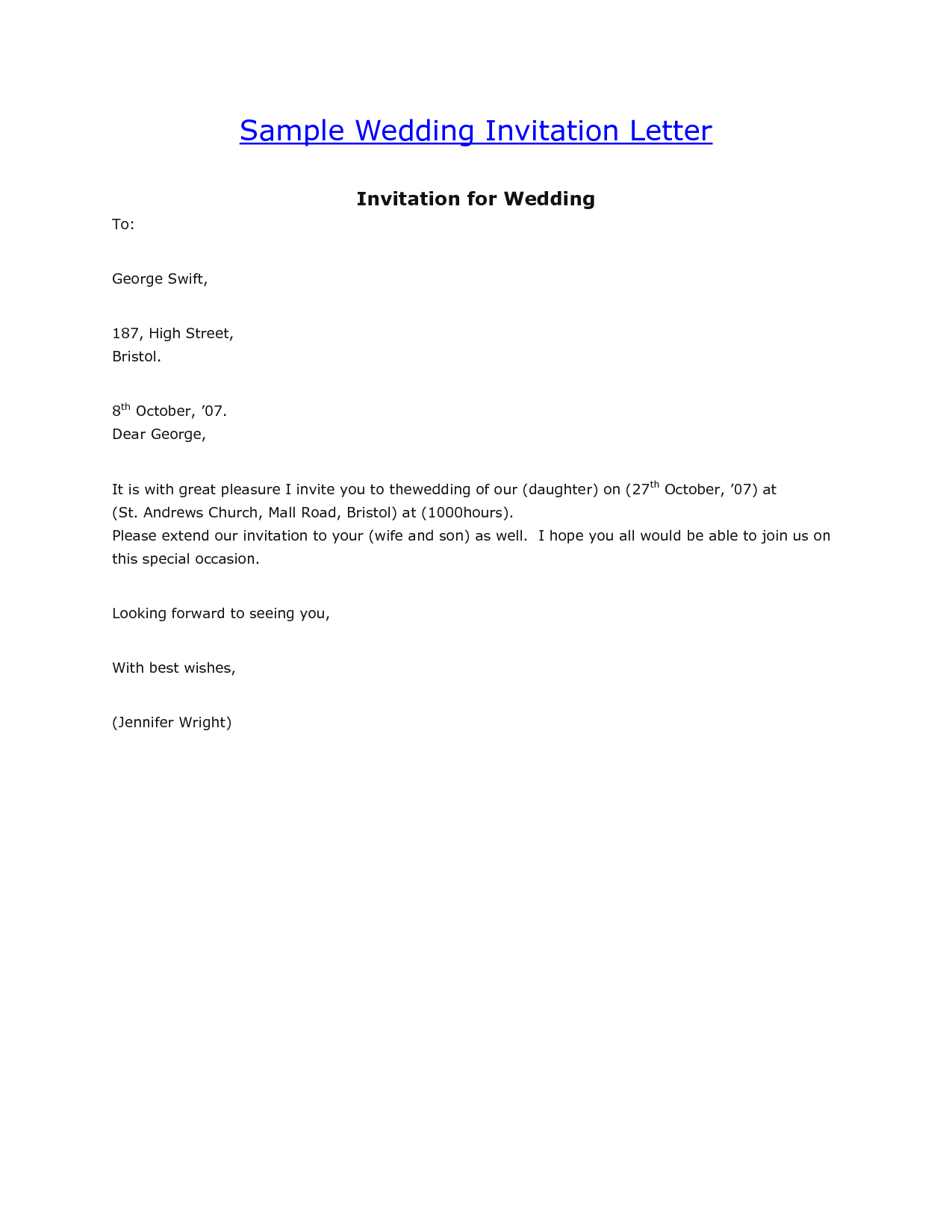 Marriage Invitation Letter Format