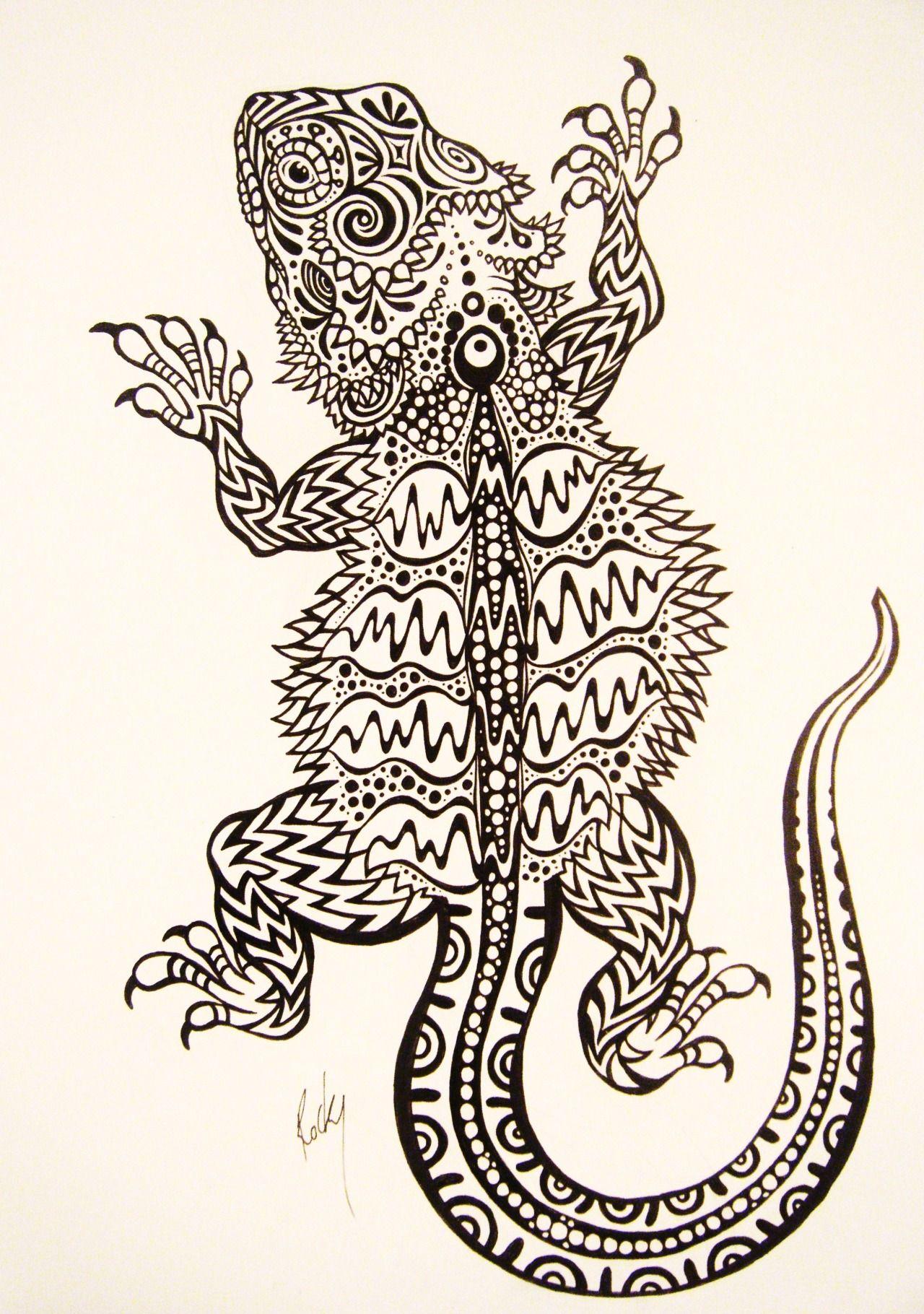 Rockymamotyuk Bearded Dragon Tattoo Design Drawn By