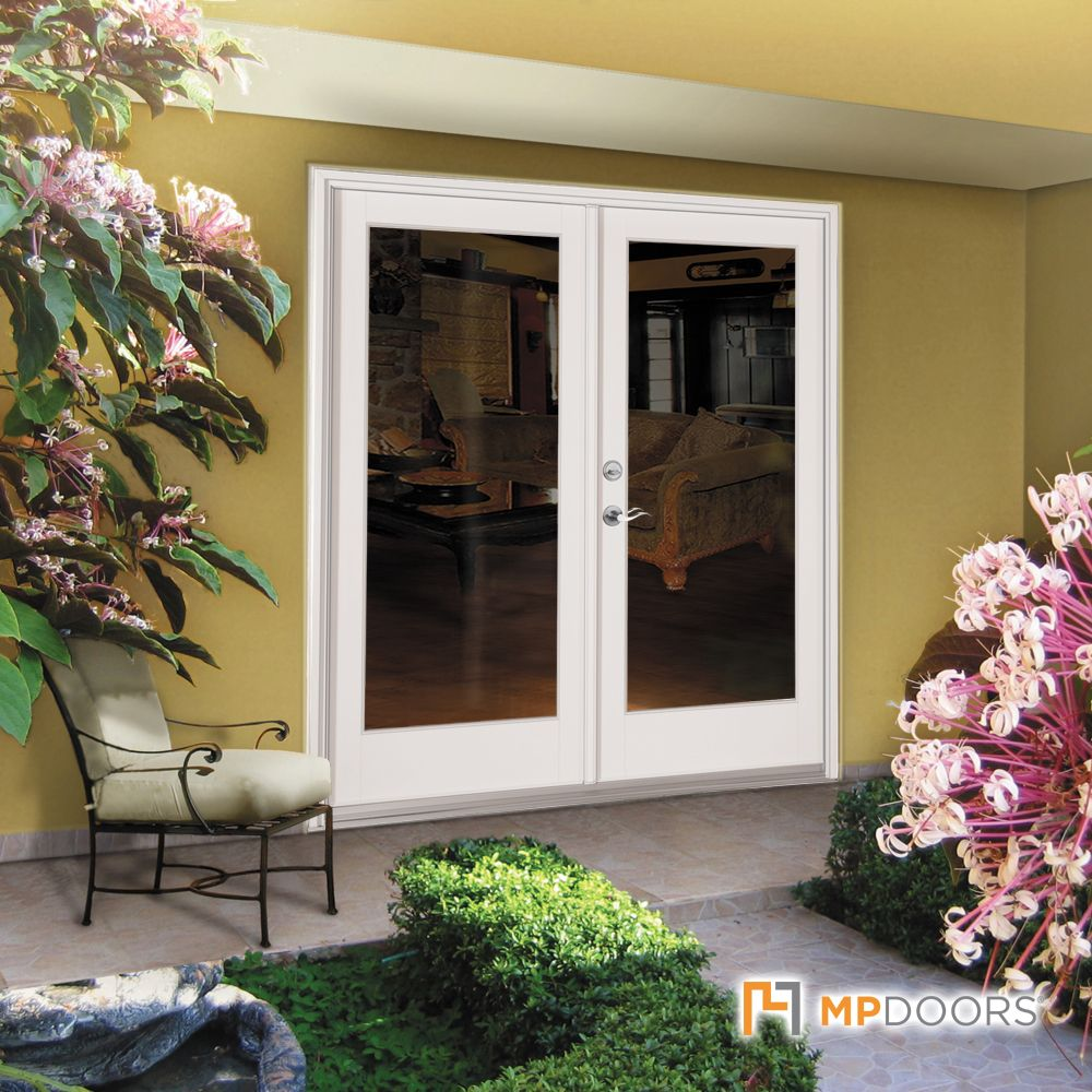 Mp Doors 60 In X 80 In Fiberglass Smooth White Right Hand Inswing Hinged Patio Door Hn5068r00201 The Home Depot Patio Doors French Doors Glass Doors Patio