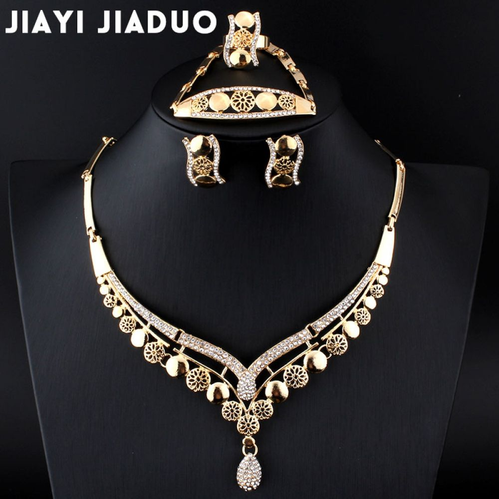 jiayijiaduo Africans Beads Set of Jewelry For Women Earrings Necklace  Bracelet Ring Wedding Set Gold-color Crystal wedding sets Price  14.96    FREE Shipping ... 3805e5c6e966