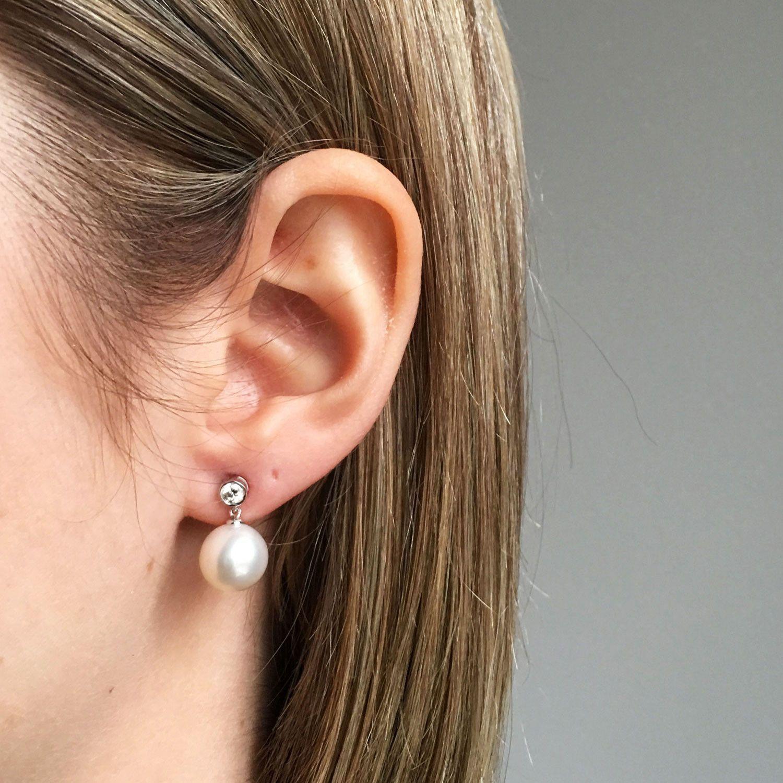 Bezel Set Diamond 0 2 Ct Tw Earrings With Dangling Freshwater Pearl 10mm 18k White Gold
