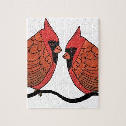 Cardinal bird lovers jigsaw puzzle - couple love gifts present idea