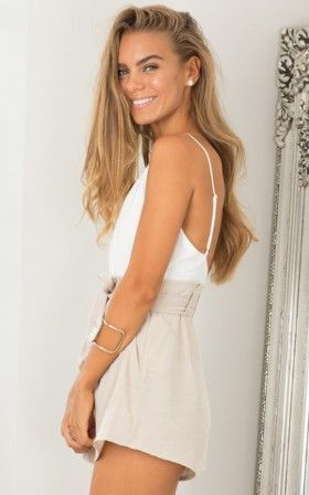 Tied Down playsuit in white and beige