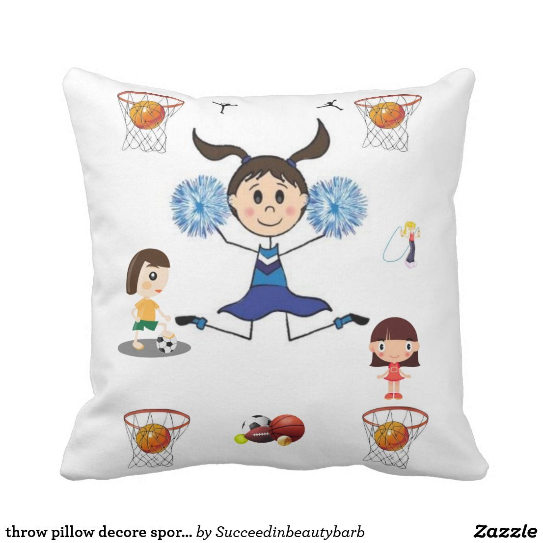 Throw Pillow Decore Sports Basketball