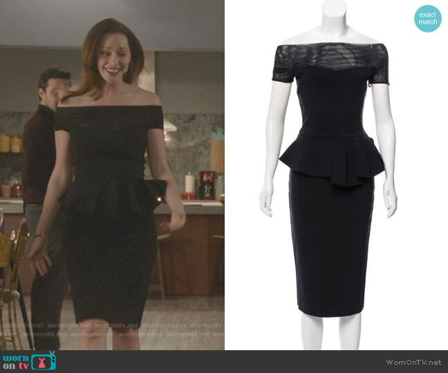 Abigail's Black Off-shoulder Peplum Dress On Good Witch In