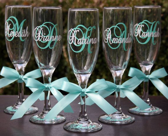 6 Monogrammed Bride And Bridesmaids Champagne Flutes Personalized Wedding Glasses