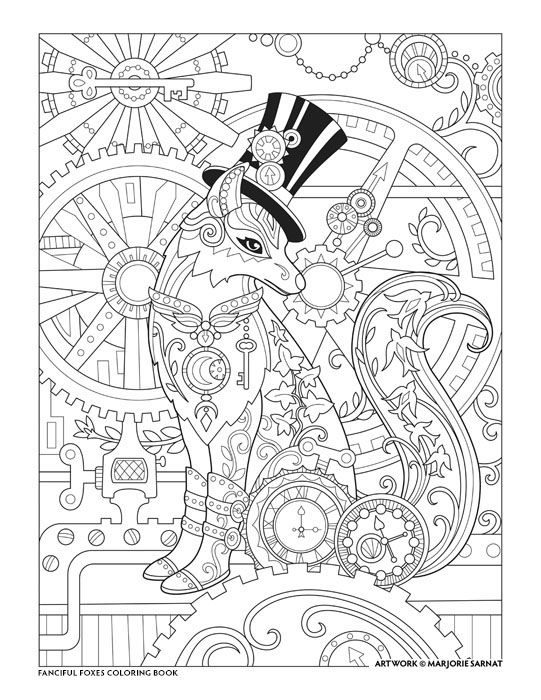 Steampunk fox fanciful foxes coloring book i marjorie Steampunk animals coloring book