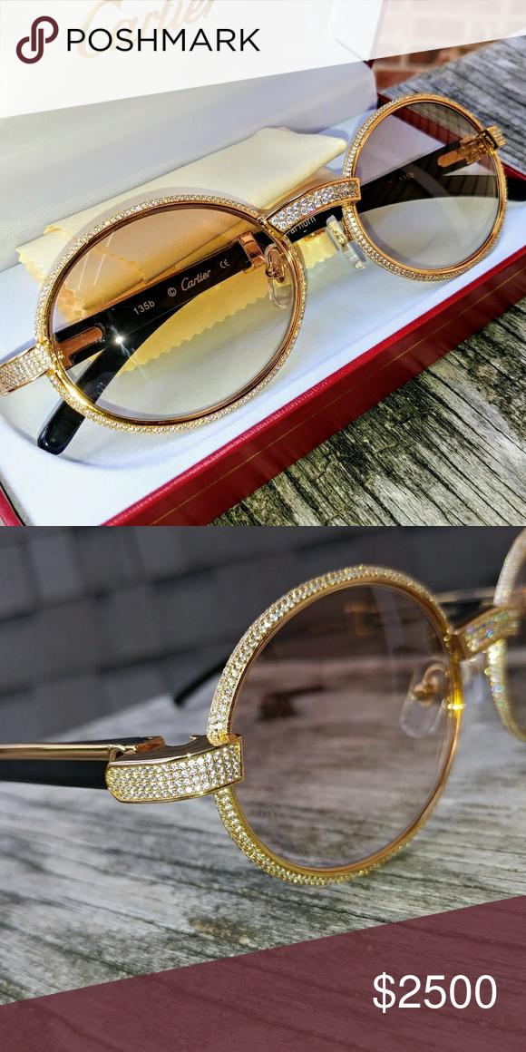 6eca775248d5 Custom Pave Diamond Cartier SUnglasses Vintage Cartier with. Black Buffalo  arms Custom pave lab diaMond bezel Box case pouch cleaNing cloth included  Cartier ...
