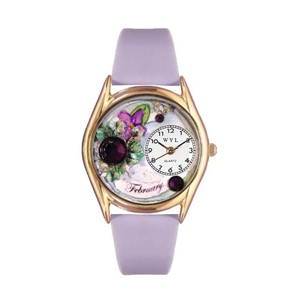 Birthstone: February Purple Leather And Goldtone Watch