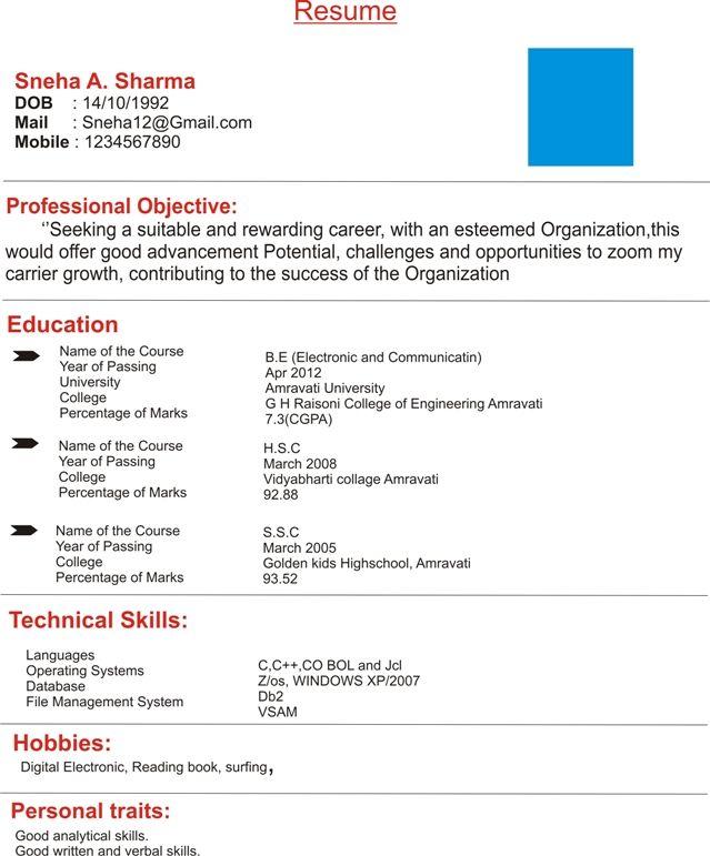 Resume Format Kaise Banaye Resume Format Pinterest Resume