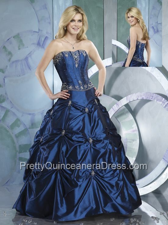 Royal Blue A-line Sweet Sixteen Dress in Taffeta with Appliques and ...