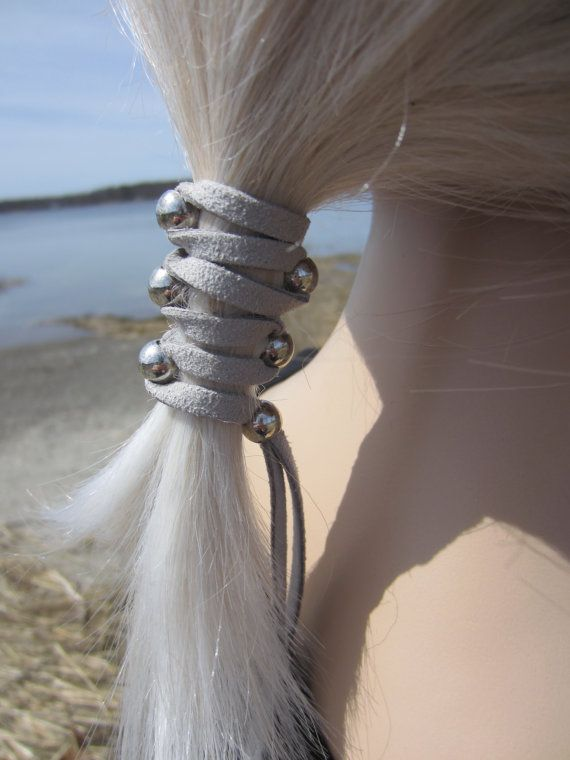 Leather Hair Ties Wraps Ponytail Holders Silver By Vacationhouse - Diy ponytail wrap