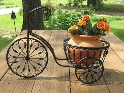 Bicycle Blooming Basket Wrought Iron Plant Stand Metal Flower Yard Ornament  Gift