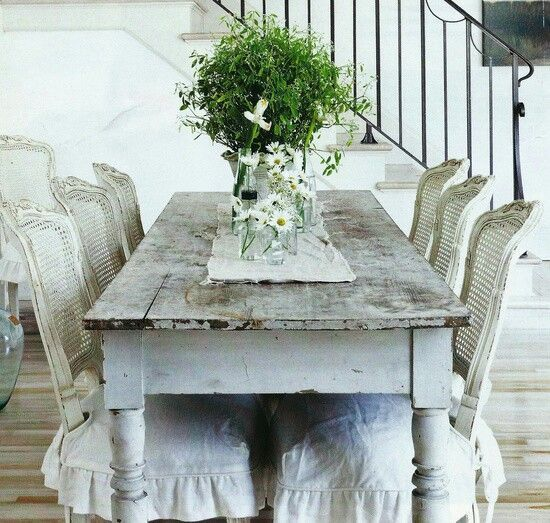 Rustic French Dining Table And White Slipcovered Chairs. ZsaZsa Bellagio:  French, Shabby U0026 Rustic Home