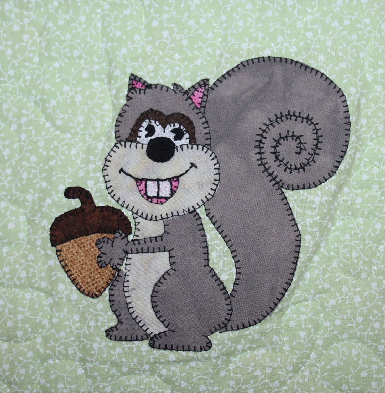 Squirrel Pdf Applique Quilt Block Pattern Whimsical Child