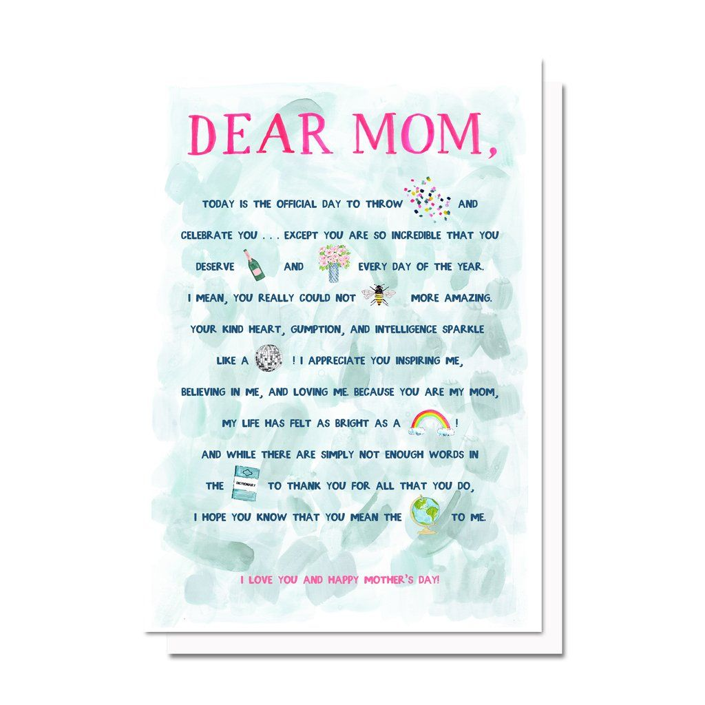 Dear mom card paper presentation pinterest dear mom evelyn