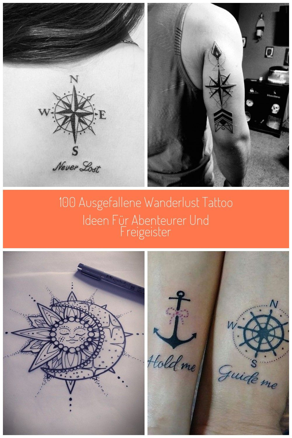 never lost wanderlust tattoo ideen rücken compass tattoo