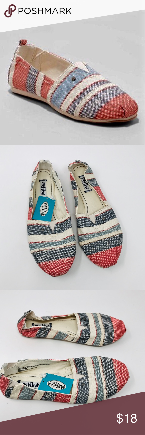 Mad Love Lydia Blue/Red Stripe Canvas