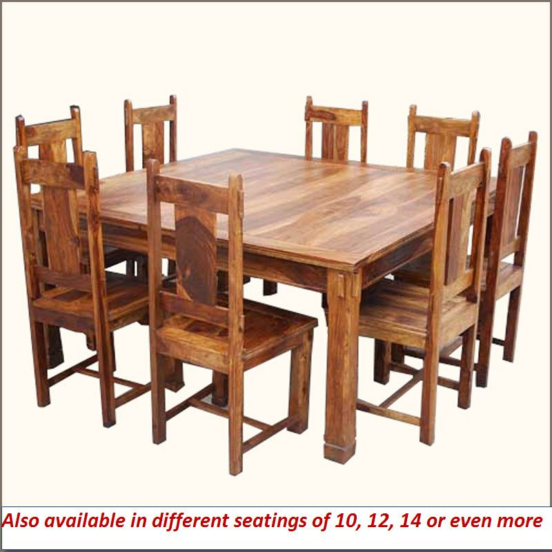 Large Rustic Mission Square Santa Cruz Dining Table Set For 8