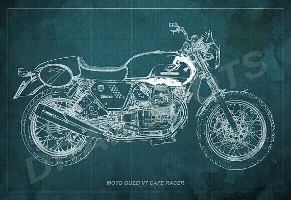 Moto guzzi cafe racer blueprint art print 12x8 to 60x41 in moto guzzi cafe racer blueprint art print 12x8 to 60x41 in motorcycle art print malvernweather Gallery