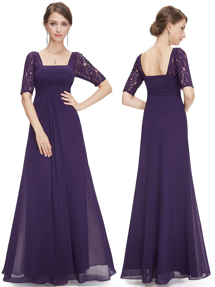 Chiffon Floor Length Purple Bridesmaid Dresses With Sleeves,Cap ...