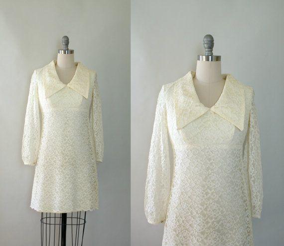 1960s Wedding Dress - Vintage 60s Ivory Lace Mod Mini-Length Wedding ...