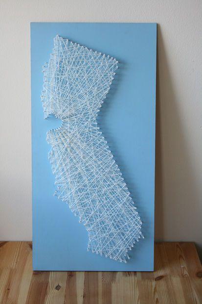 String Art Map | String art, Craft and String art states