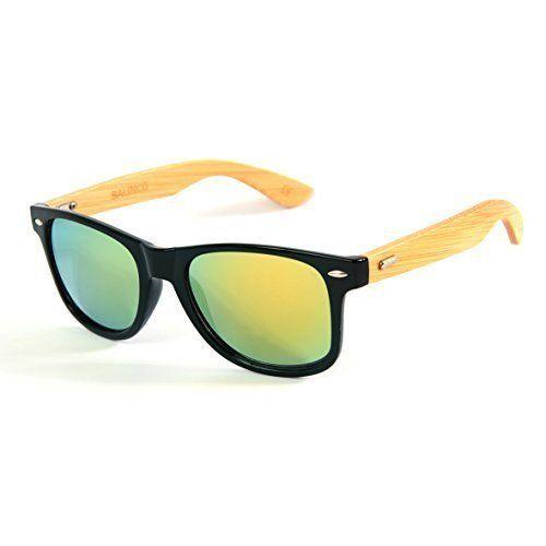 Hochwertige Bambus Holz Nerd Sonnenbrille Rubber im Wayfarer Stil Retro Vintage Unisex Brille mit Federscharnier - 9 verschiedene Farben/Modelle wählbar (Bambus - Transparent) aBTgweQ5aS