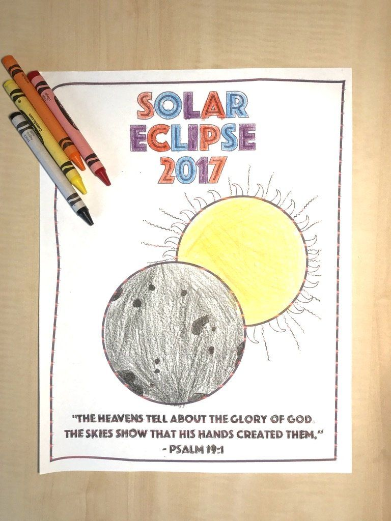 FREE Solar Eclipse Coloring Page for Sunday School | Sunday School ...