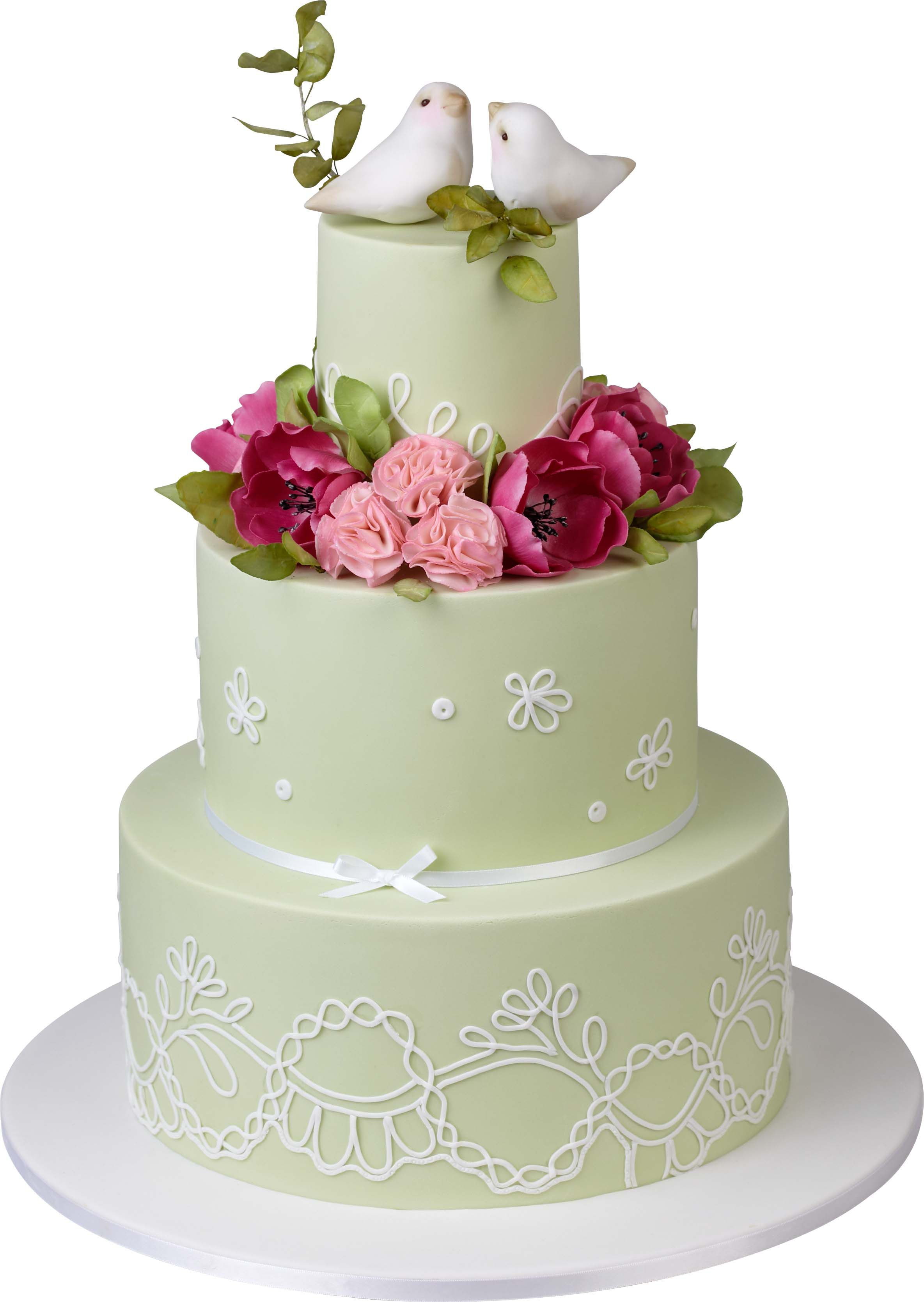 Light green tier cake with turtle doves and rose decoration by