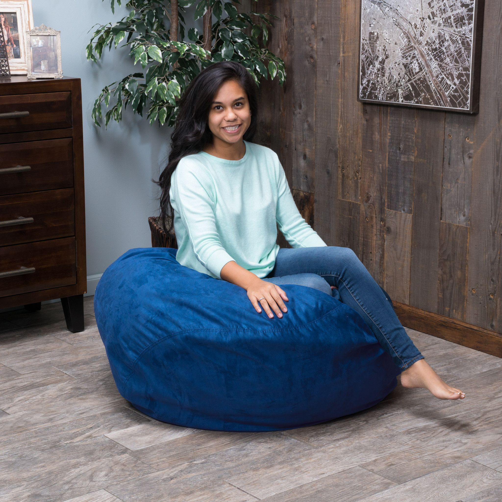 Harbor 3 Foot Faux Suede Midnight Blue Bean Bag Lounge In Style With The