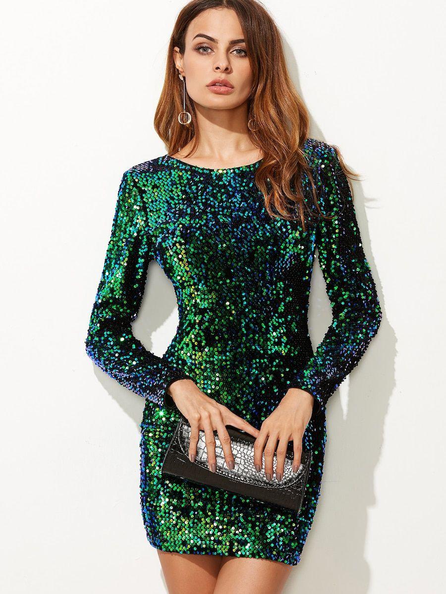 outlet(mk) los mejores precios moda mejor valorada Vestido ajustado de lentejuelas - verde -Spanish SheIn ...