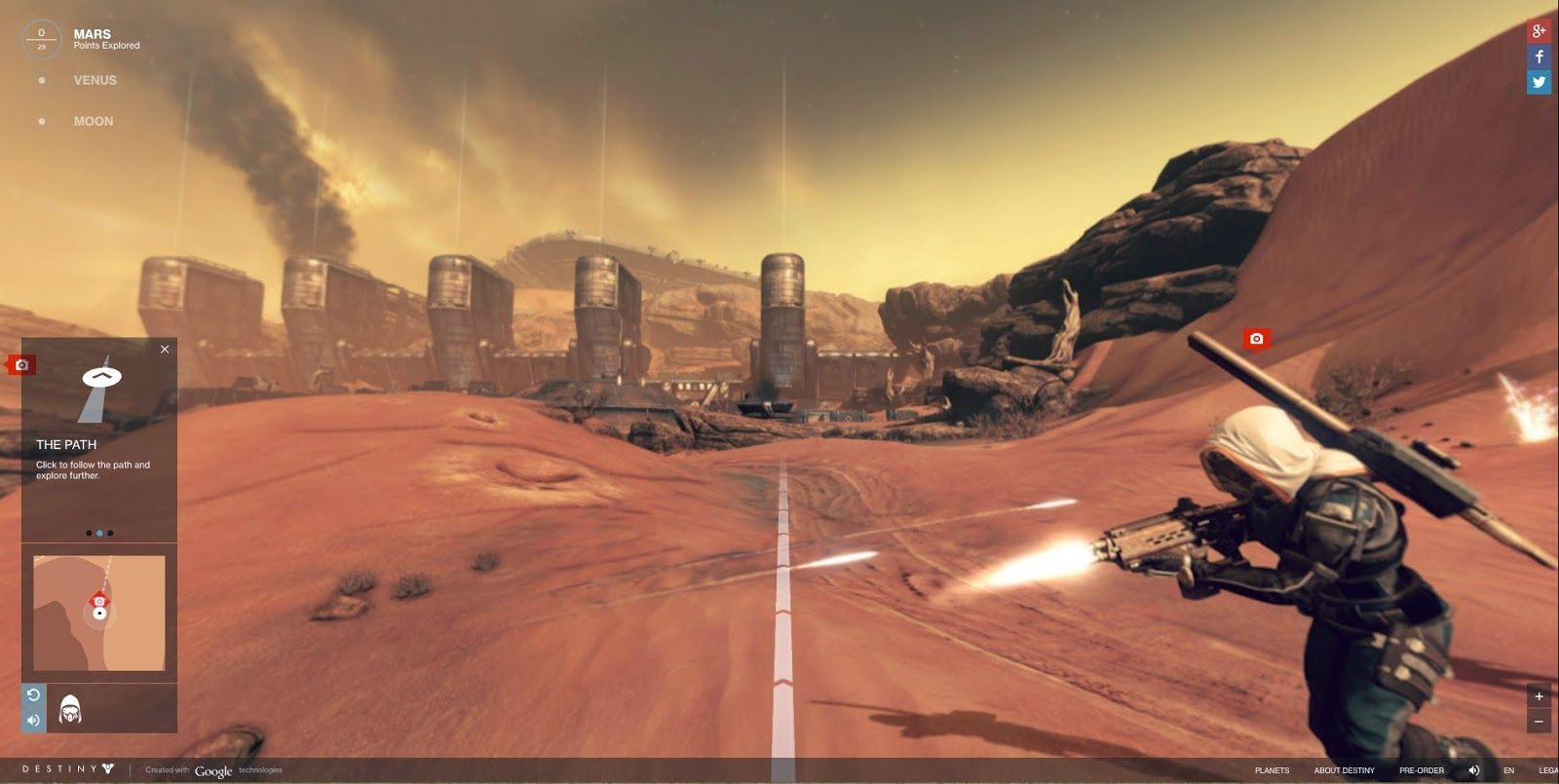 Explore-Destiny's-Planets-Using-Google-Street-View  Destiny Planet View allows gamers to explore other worlds like you would on our very own streets here on earth. This Google inspired Street view style explorer tool was developed by Activision as a way to promote the upcoming First Person Shooter.  #PS4Games #PlaystationGames #Playstation4Games #Destiny #DestinyPlanetView #GoogleStreetView