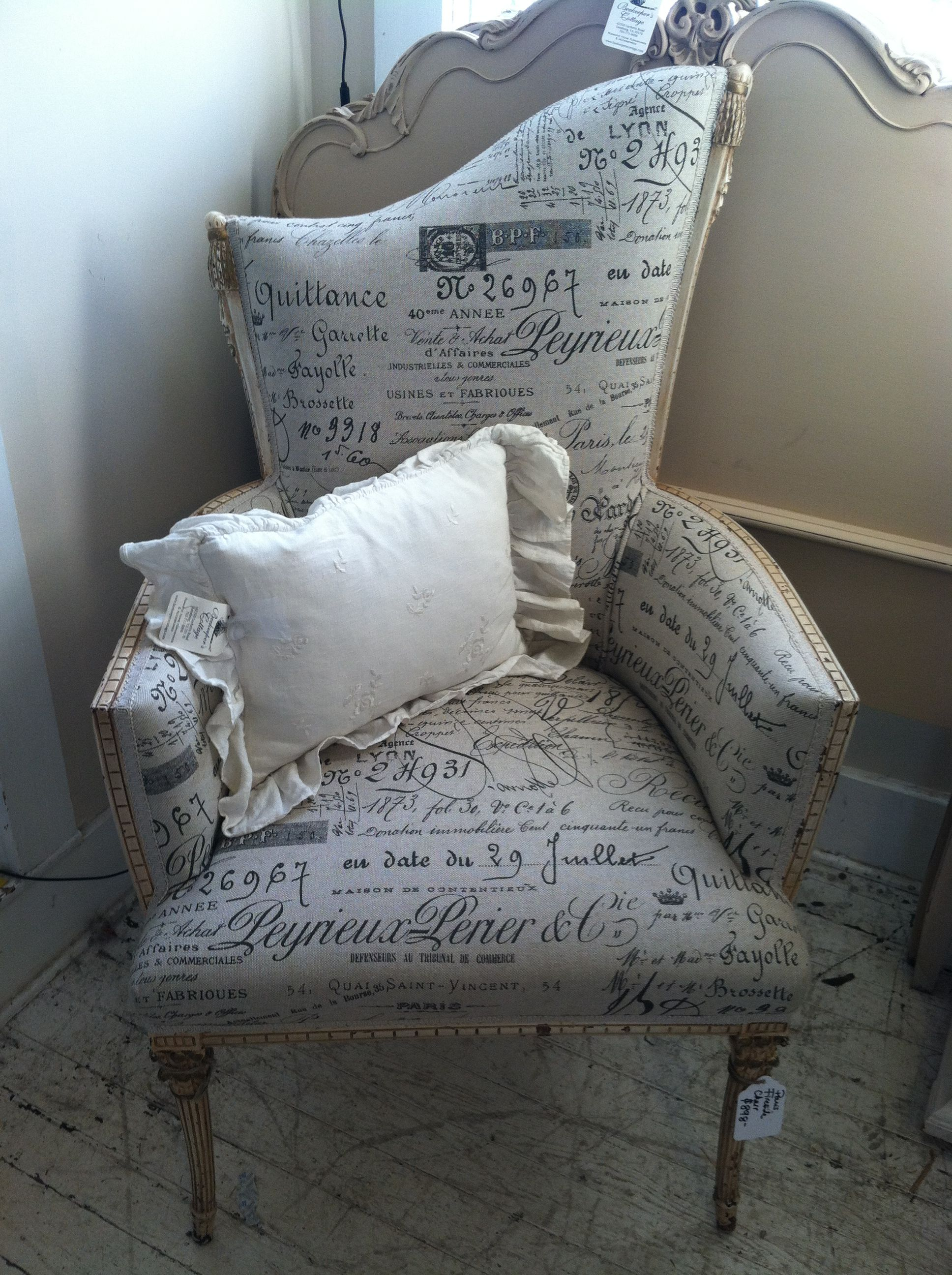 Paris print upholstered fireside chair with cute Bella embroidered throw(: