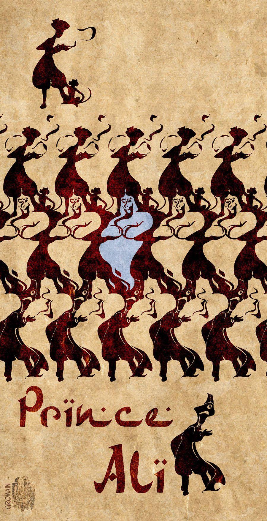Ilustrador mezcla películas Disney con el arte de Escher