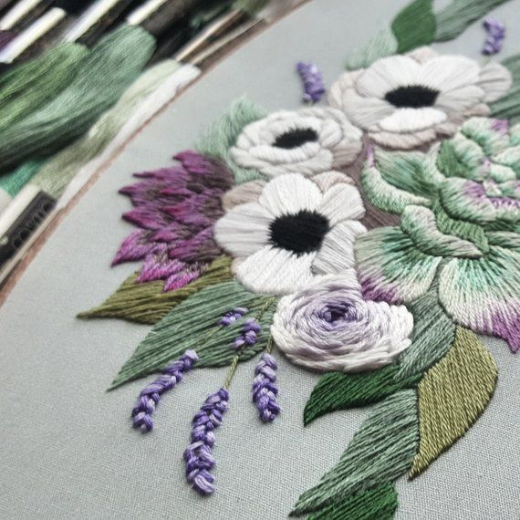 Hand Embroidery Pdf Anemones And Succulents Thread Painting Pattern