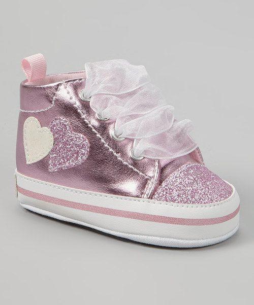 Look at this Gerber Childrenswear Light Pink Metallic Glitter Heart Hi-Top Sneaker on #zulily today!
