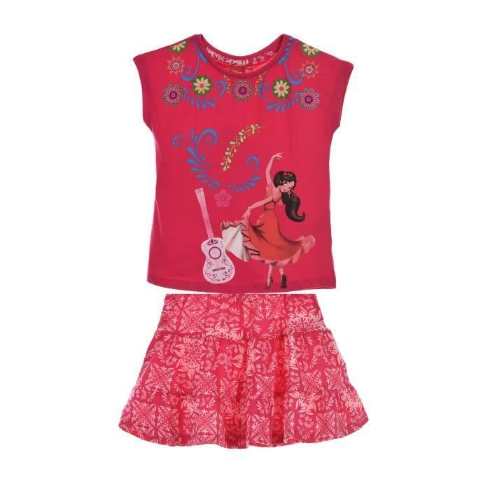 ELENA DAVALOR Ensemble T-shirt Manches Courtes + Jupe Rose Sérigraphié Enfant Fille