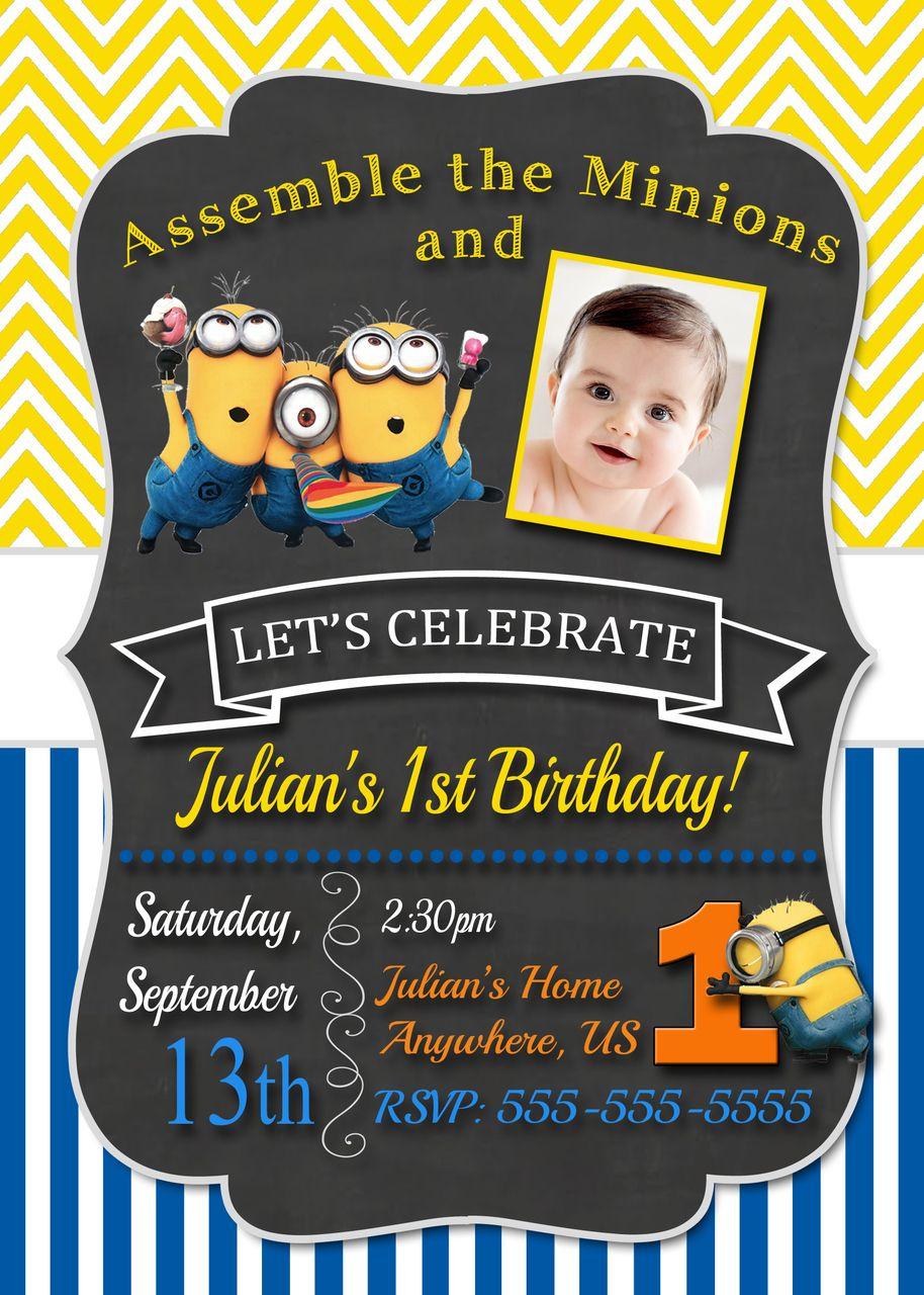 Chalkboard Despicable Me Minions Birthday Invitations Chevron