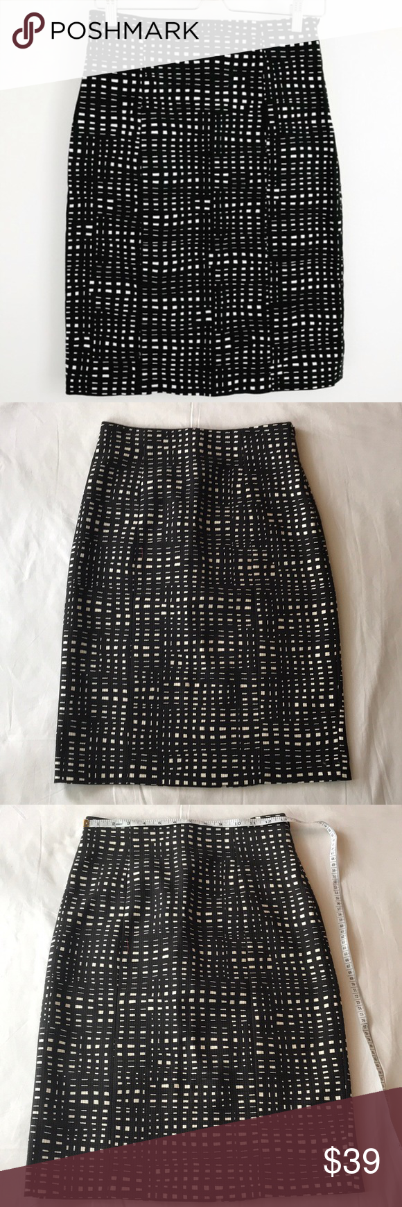 3a1abd3c76 Theory black & white square checkered pencil skirt Theory. Black and white  square checkered pencil skirt with slit in the back. Size 2.