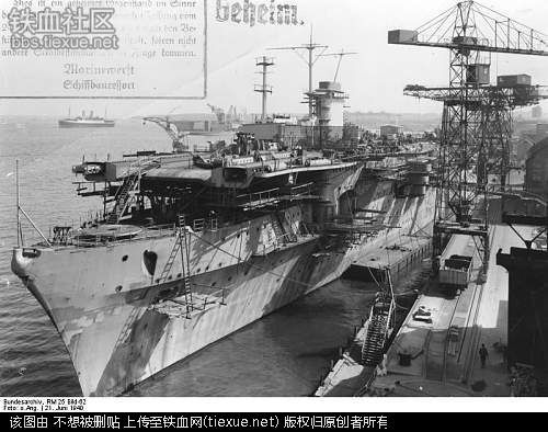 """Construction of the """"Graf Zeppelin"""". Germany's only and never completed aircraft carrier."""