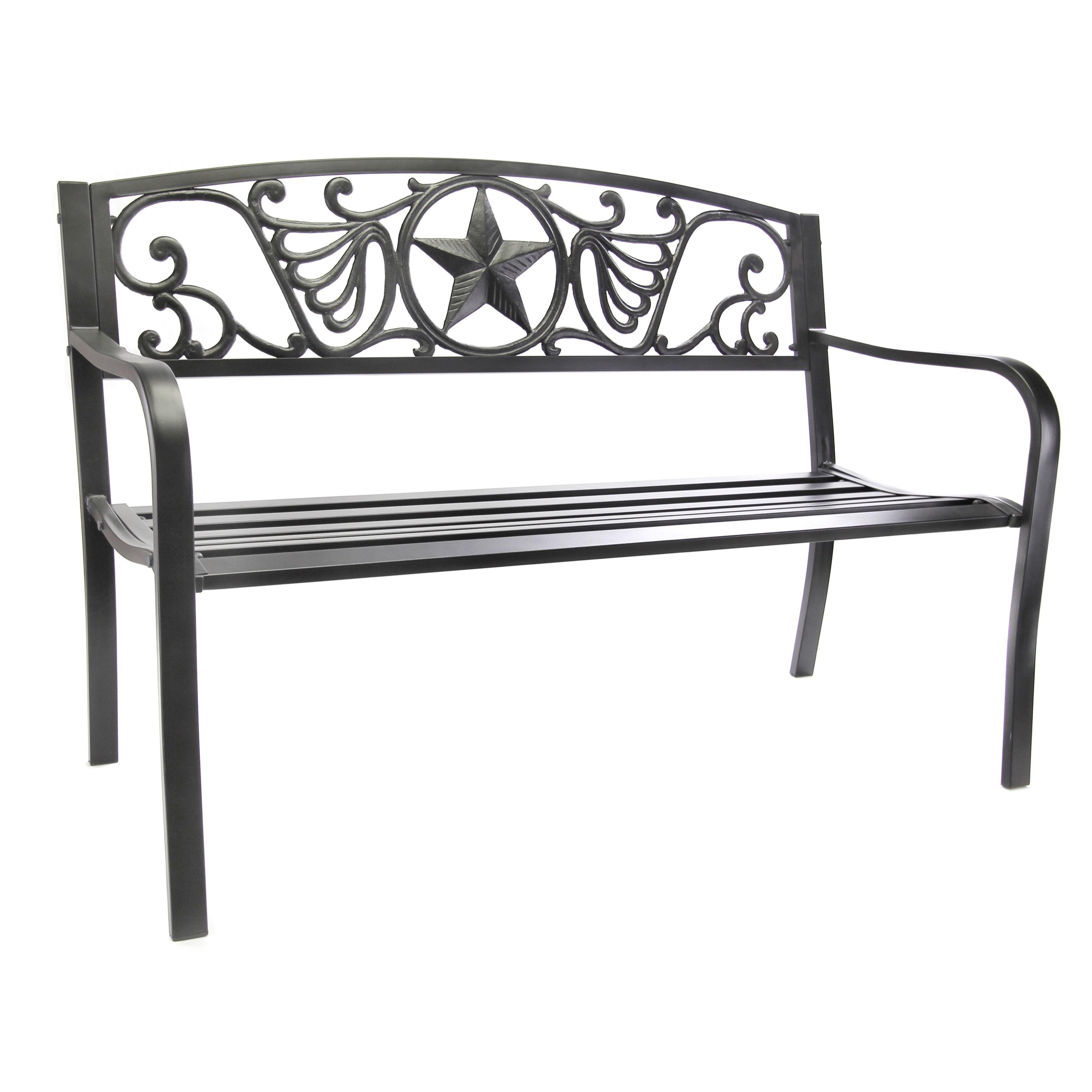 Jordan Manufacturing Lonestar Outdoor Bench (Black Lonestar Bench), Patio  Furniture (Steel)